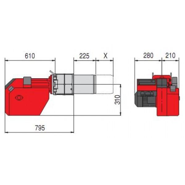 Размеры горелки MG 20 1/2- (D)ZM-L-N-LN